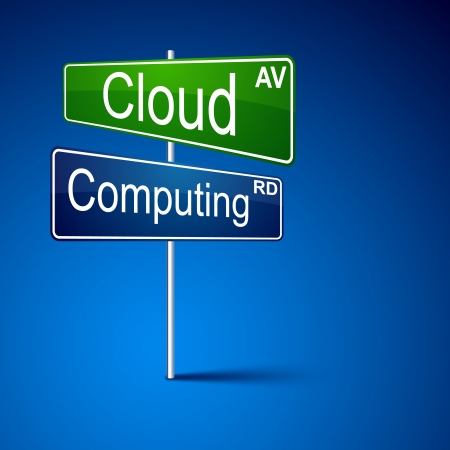direction road sign with cloud computing words   Vector