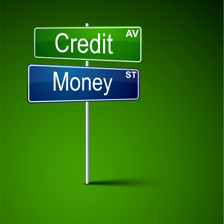 direction road sign with credit money words   Vector