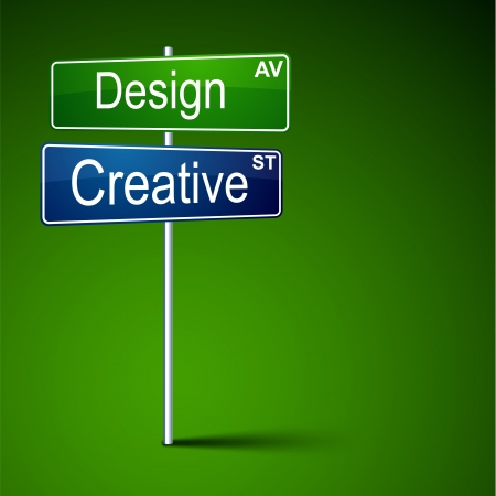 direction road sign with design creative words   Vector
