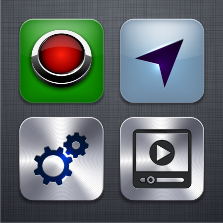 illustration of high-detailed apps icon set over linen texture   Vector