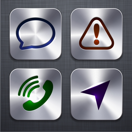 phone button: illustration of high-detailed apps icon set over linen texture   Illustration