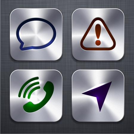 triangle button: ilustraci�n de alta detallada icono de las aplicaciones que se distribuyen en la textura de lino