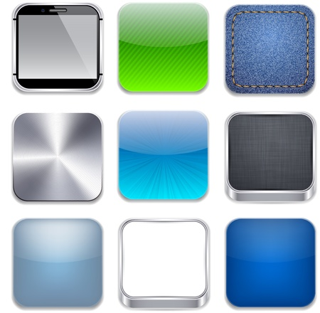 blue button: illustration of high-detailed apps icon set