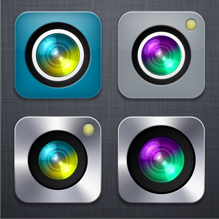 linen texture: illustration of high-detailed camera apps icon set over linen texture
