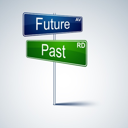 direction road sign with future past words   Vector