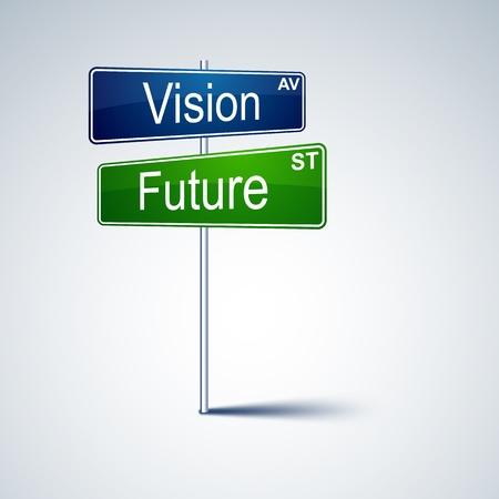 vision futuro: dirección de señal de tráfico con las palabras de la visión en el futuro