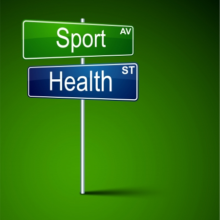 direction road sign with sport health words   Vector