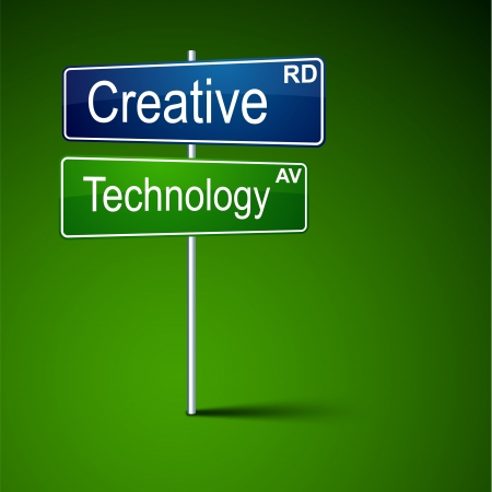 different concept: Vector direction road sign with creative technology words  Illustration