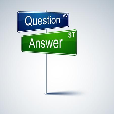 dirección de señal de tráfico con las palabras de respuesta de preguntas. Ilustración de vector