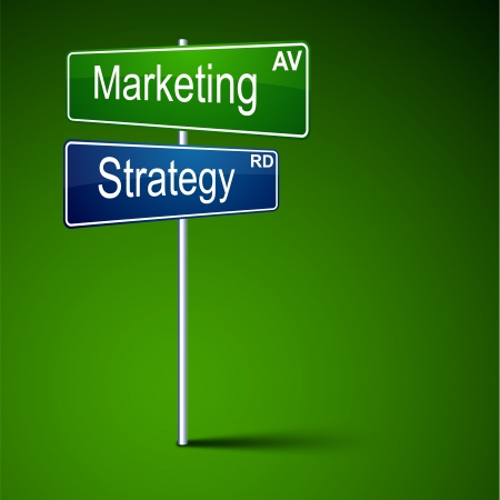 direction road sign with marketing strategy words.  Vector