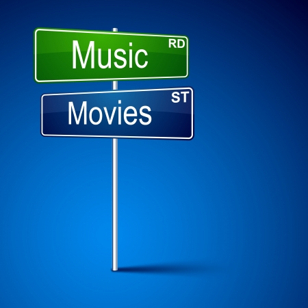 direction road sign with music movies words.