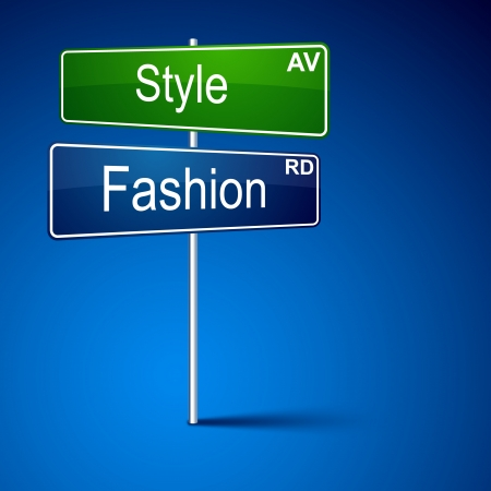 direction road sign with style fashion words. Stock Vector - 13930163