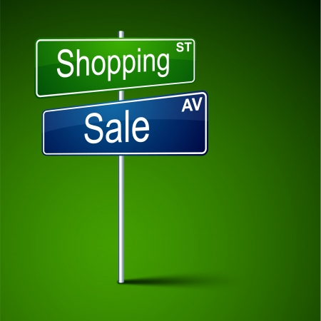 direction road sign with shopping sale words. Vector