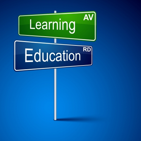education choice: direction road sign with Learning education words.