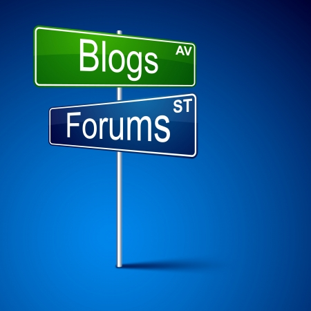 forums: direction road sign with blogs forums words.   Illustration