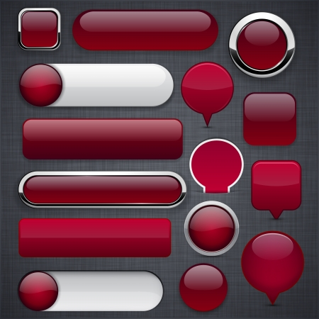 metallic button: Blank wine red web buttons for website or app