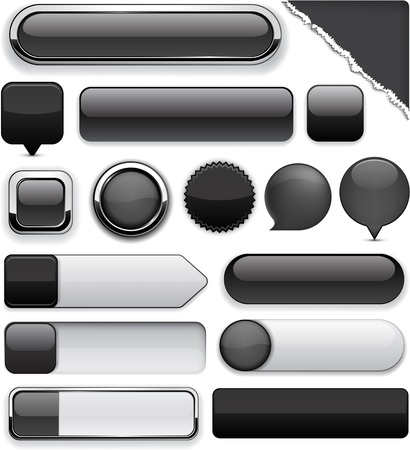 rounded squares: Blank black web buttons for website or app