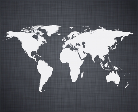 linen texture: illustration of high-detailed world map over linen texture