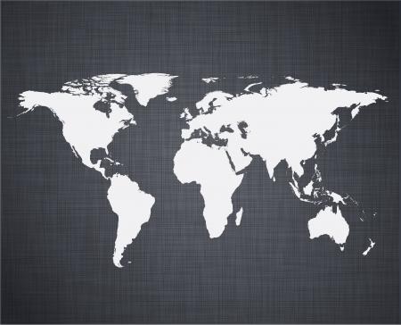 linen texture: ilustraci�n de mapa del mundo de alta detallada sobre la textura de lino