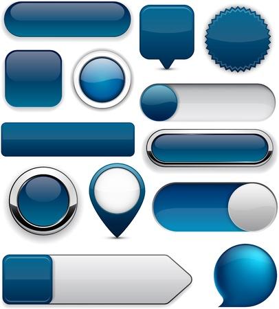 Blanco azul oscuro botones web para el sitio web o aplicación