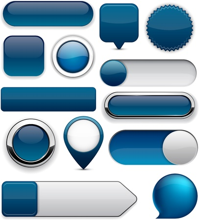 rounded squares: Blank Dark-blue web buttons for website or app