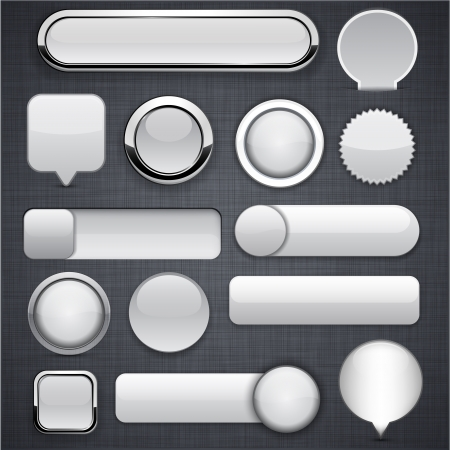 rounded squares: Blank grey web buttons for website or app
