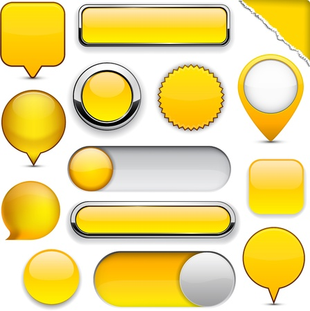 Blank yellow web buttons for website or app