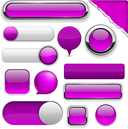Blank purple web buttons for website or app Vector