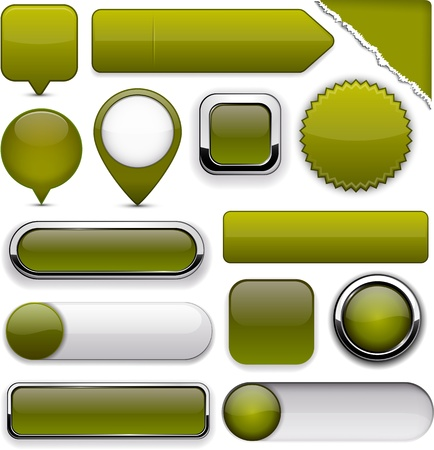 Blank mossy web buttons for website or app Stock Vector - 14387910