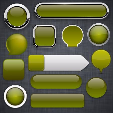 gibbose: Blank mossy web buttons for website or app   Illustration