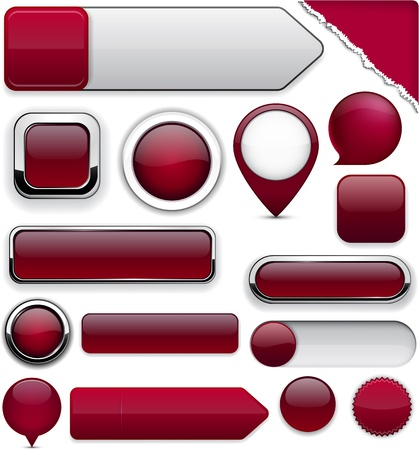 Blank wine red web buttons for website or app   Stock Vector - 14387913