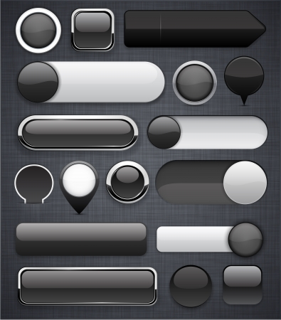 web buttons: Blank black web buttons for website or app