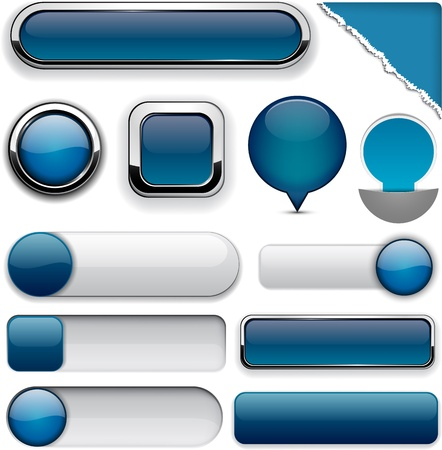 blue buttons: Blank Dark-blue web buttons for website or app   Illustration