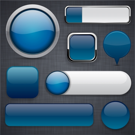 Blank Dark-blue web buttons for website or app Stock Vector - 14387916