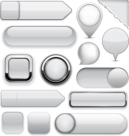 rectangular: Blank grey web buttons for website or app