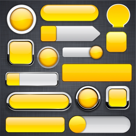 Blank yellow web buttons for website or app   Vector