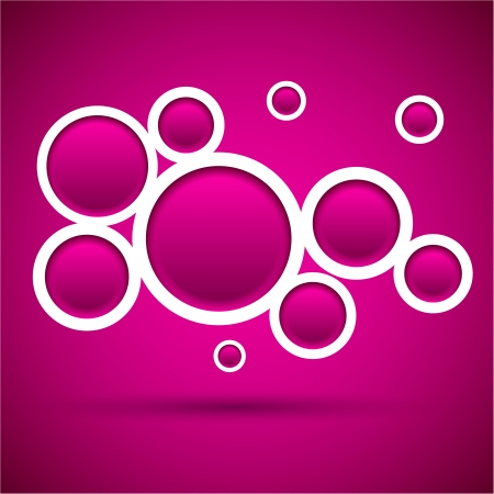 Abstract magenta background contains of round bubbles  Vector