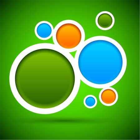 web site design template: Abstract green background contains of round bubbles.