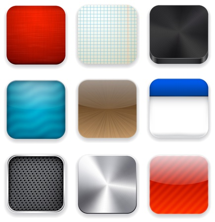 shiny button: illustration of high-detailed apps icon set.