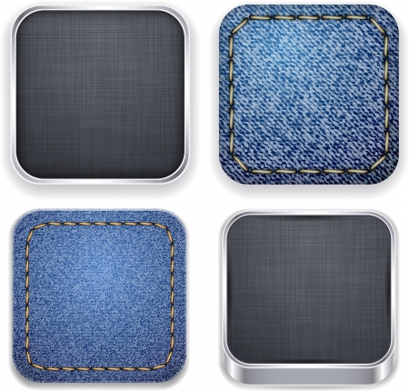 Vector illustration of high-detailed textured apps icon set.  Vector