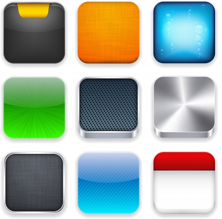 3d button: illustration of high-detailed apps icon set.