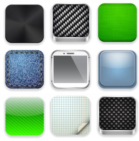 carbon fiber: ilustración de alta detallada conjunto de iconos aplicaciones.