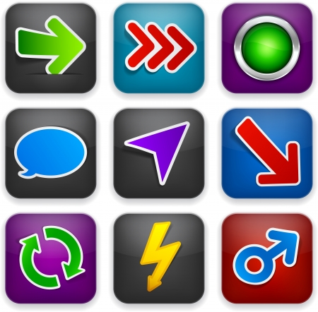 illustration of high-detailed apps icons with stickers.  Vector