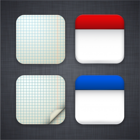 square buttons:  illustration of high-detailed paper apps icon set.  Illustration