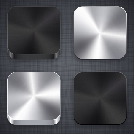 illustration of high-detailed apps matal icon set.  Vector