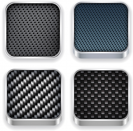 rounded squares: illustration of high-detailed textured apps icon set.