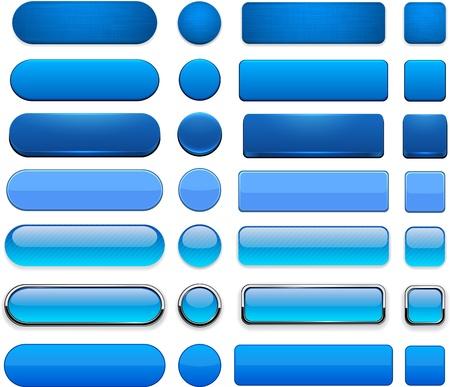 buttons: Set di pulsanti blu in bianco per il sito web o app. Vettoriali