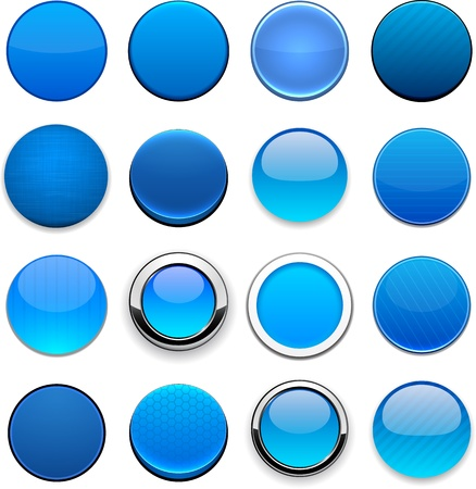 button: Set of blank blue round buttons for website or app.  Illustration