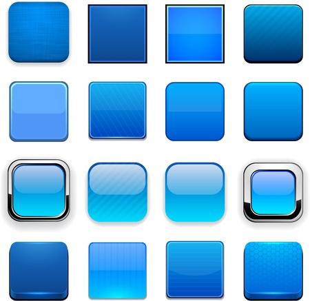 cuadrados: Conjunto de botones de color azul en blanco cuadrados para el sitio web o aplicaci�n. Vector eps10.