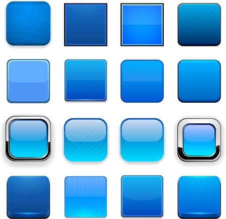 set square: Set of blank blue square buttons for website or app. Vector eps10.